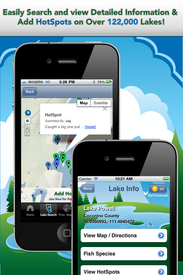 iFish USA App Lake Details & HotSpots Screens