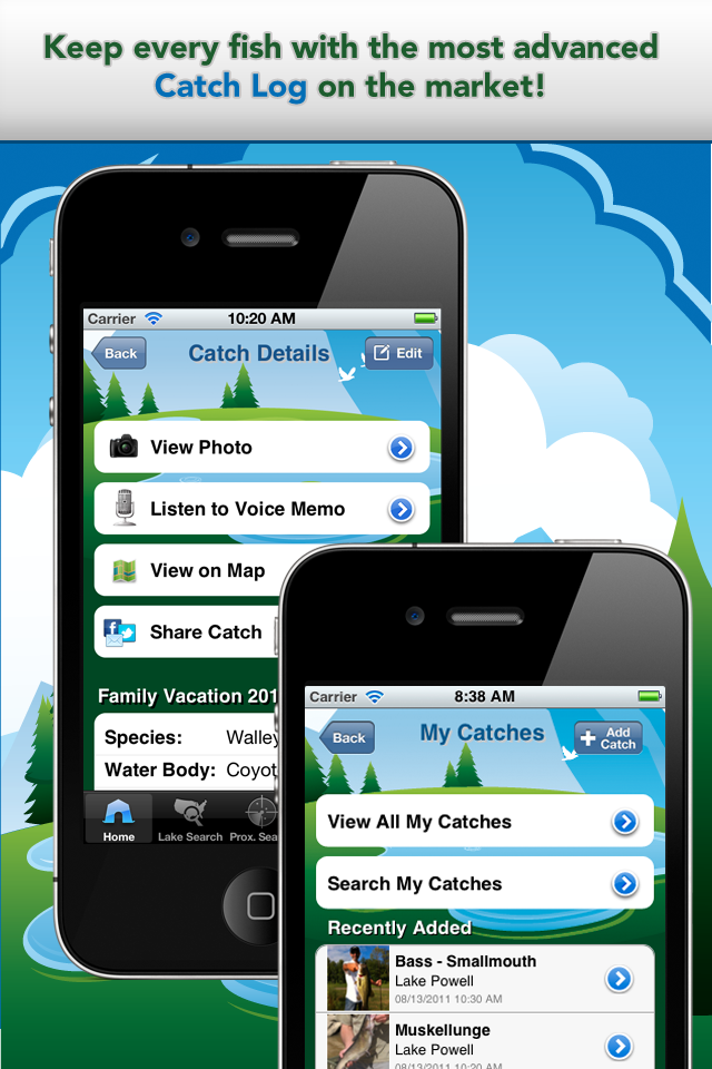 iFish USA App Catch Log Screens