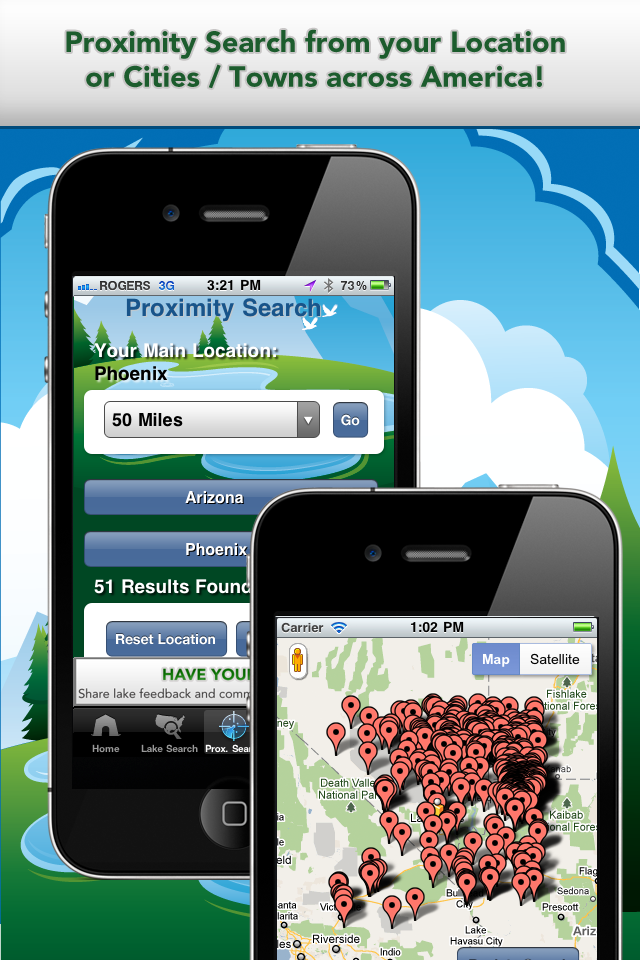 iFish USA App Proximity Search & Map View Screens